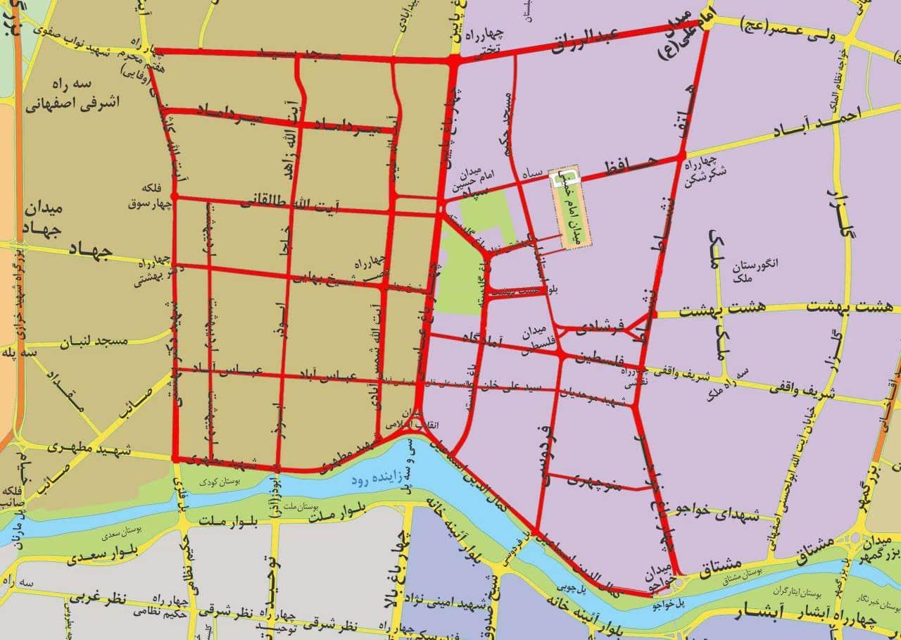 نقشه محدوده زوج و فرد اصفهان